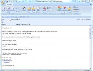GGN bevestigd per mail..